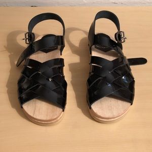 No. 6 Clog Sandal on Flat Base in Black Patent